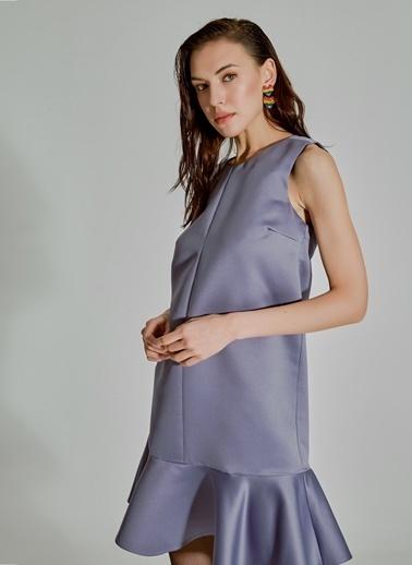 People By Fabrika Volanlı Saten Elbise Gri